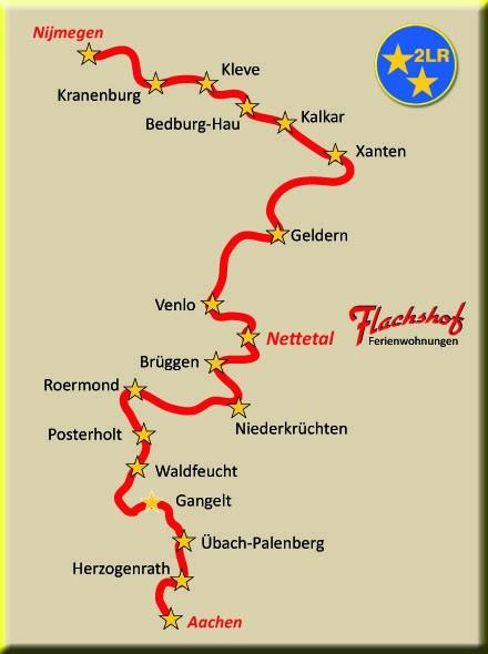 2 Länder Route Niederrhein von Aachen bis Nijmegen