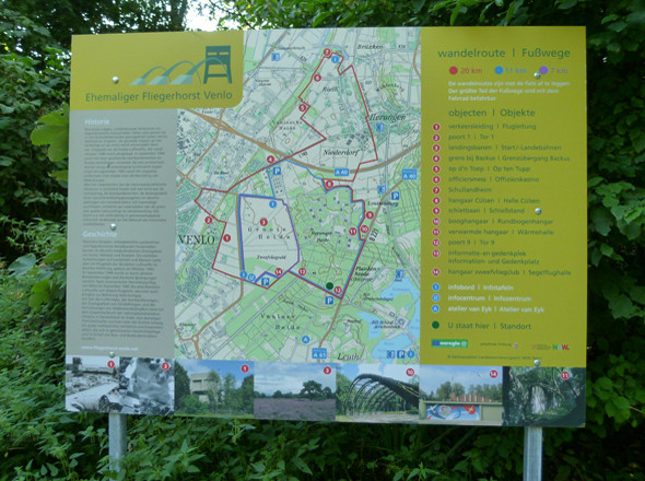 Rundweg um den Fliegerhorst Venlo - Hinweistafel Ehemaliger Fliegerhorst Venlo