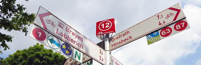 Knotenpunktsytem für Radler am Niederrhein in Nettetal Kreis Viersen NRW
